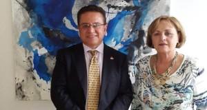 Rector Oscar Leon y Maria Castillo en visita oficial Universidad de Malaga
