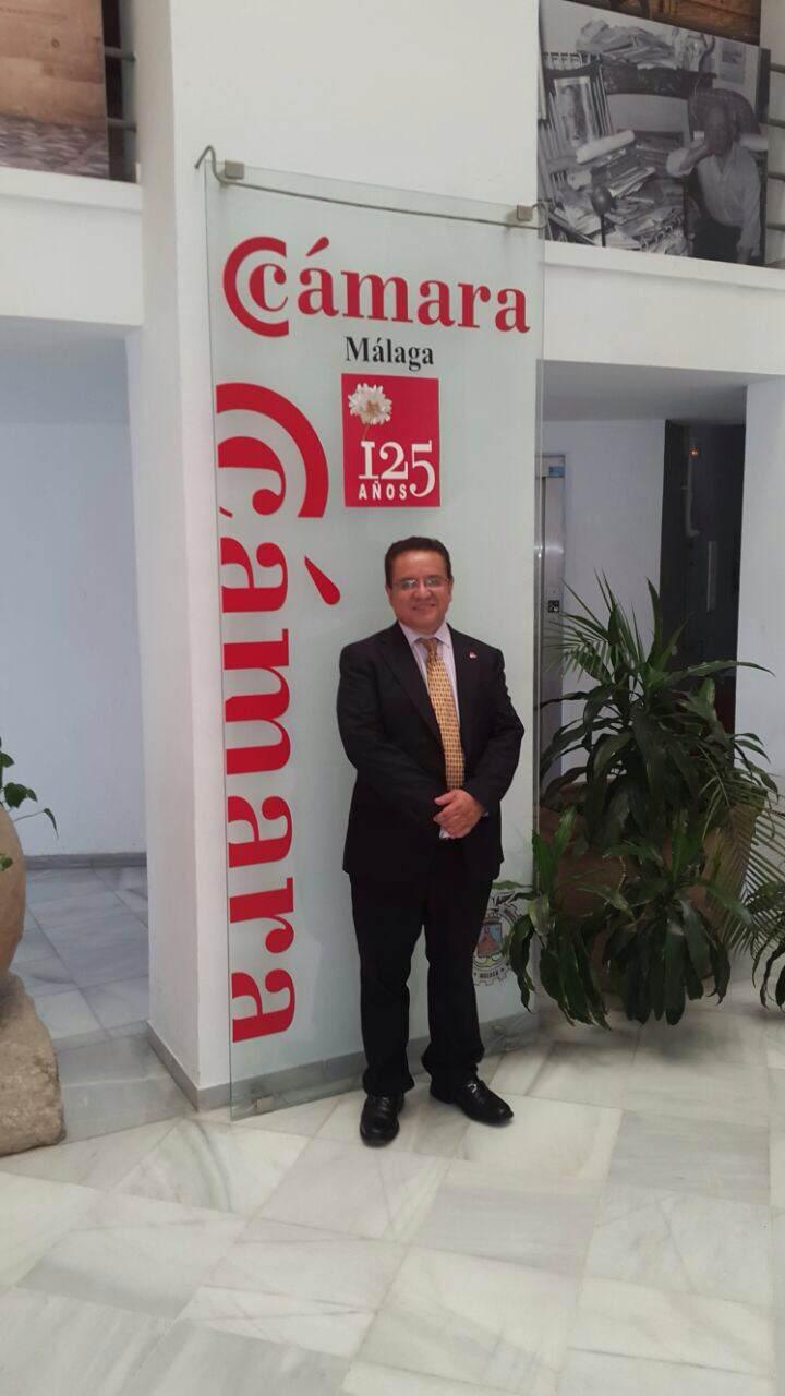 Rector Oscar Leon en visita oficial Camara Comercio de Malaga