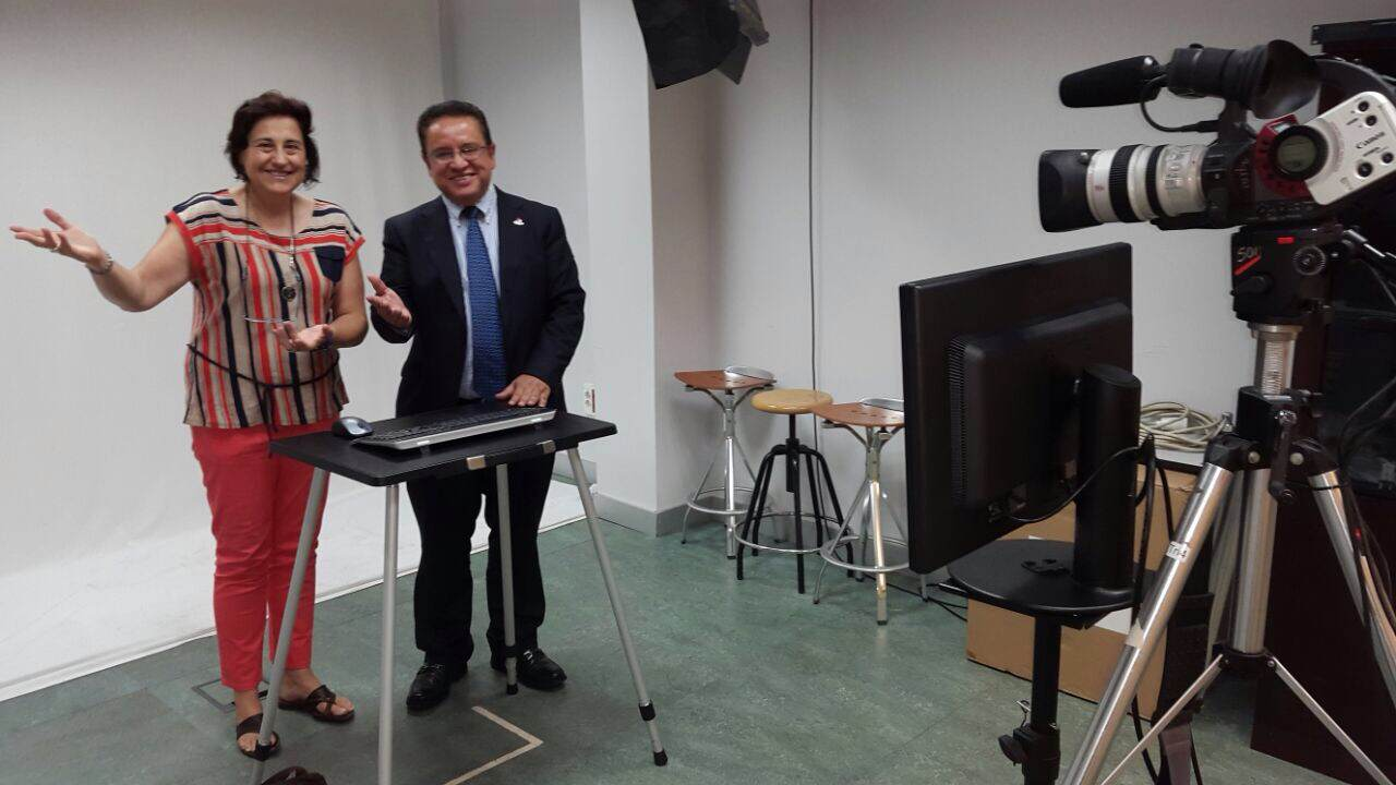 Rector Oscar Leon en visita oficial UNED Madrid